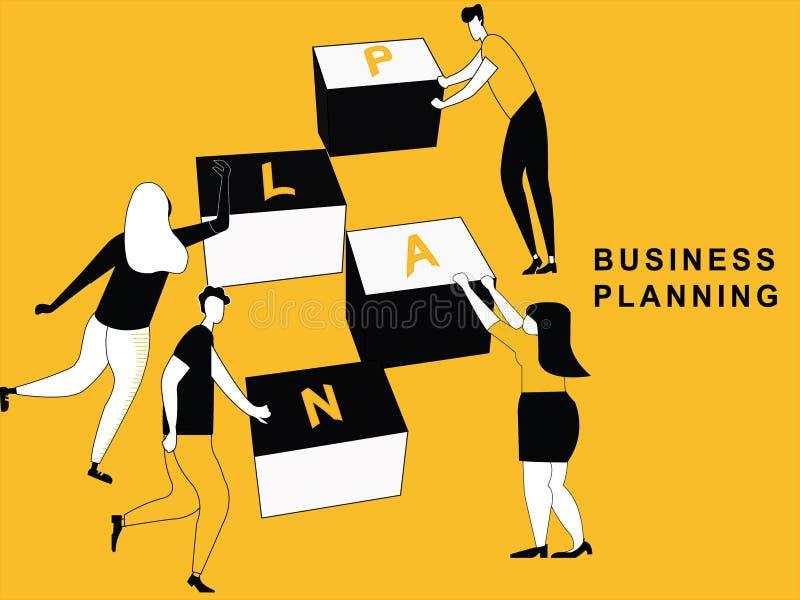 Ludzie robi planowi biznesowemu ilustracja wektor