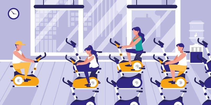 Ludzie robi wirować w gym ilustracja wektor