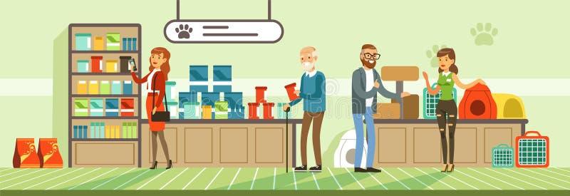 Ludzie robi zakupy dla ich zwierząt domowych przy zwierzę domowe sklepem, goście kupuje artykuły żywnościowy i medicaments wektor ilustracji