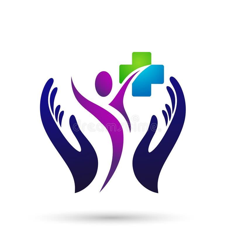 Ludzie rodzinnej opieka medyczna logo ikony szcz??cia wygranych zdrowie wp?lnie zespalaj? si? sukcesu wellness zdrowie symbol na  royalty ilustracja
