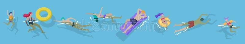 Ludzie rodziny i dzieci w morza, basenu lub oceanu spe?niania aktywno??, Mężczyźni lub kobiety pływa w swimwear, pikowanie, surfi ilustracja wektor
