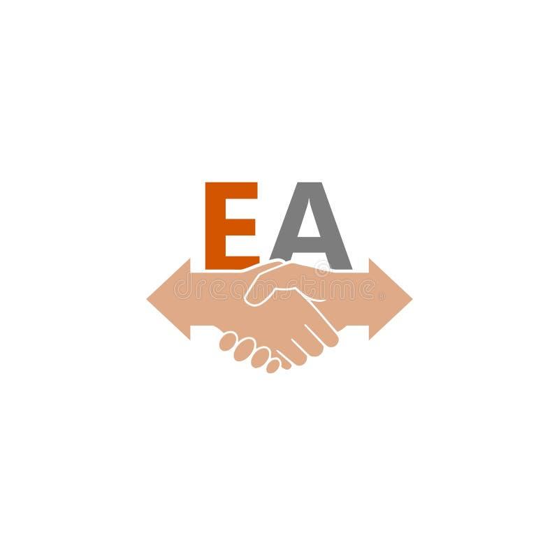Ludzie rozdają uścisku dłoni logo i ikona, EA pisze list logo royalty ilustracja