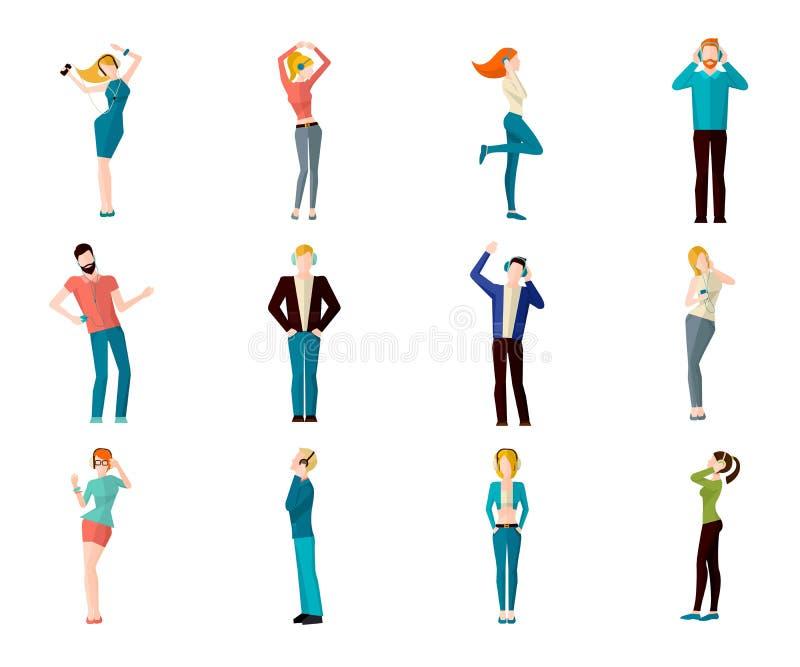 Ludzie Słucha muzyka ilustracja wektor