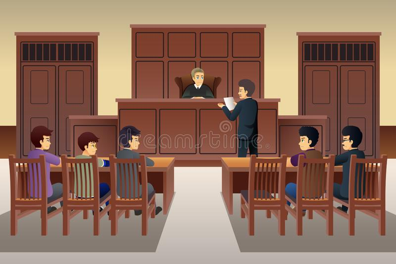 Ludzie sceny ilustracji w sądzie ilustracja wektor