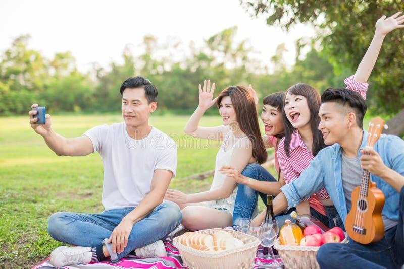 Ludzie selfie szczęśliwie zdjęcie stock
