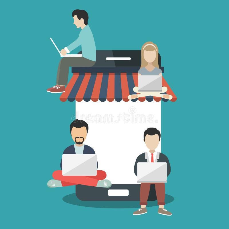 Ludzie siedzi na dużym mądrze telefonie Surfingu pojęcia ilustracja młodzi ludzie używa podołka wierzchołek robić zakupy na linii ilustracja wektor
