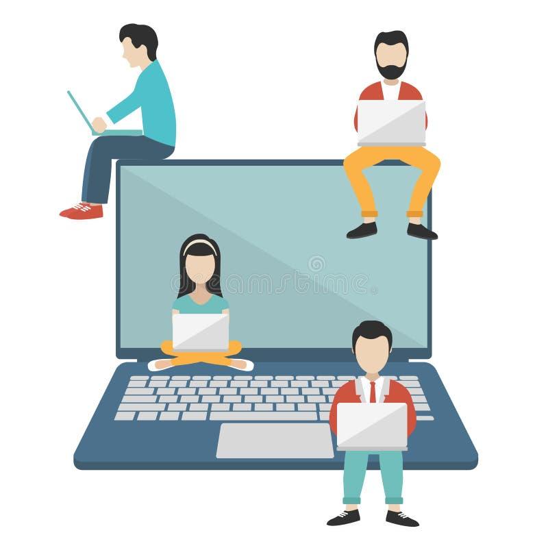 Ludzie siedzi na dużym notatniku Ogólnospołeczna sieci strona internetowa Surfingu pojęcia ilustracja młodzi ludzie używa podołka ilustracja wektor