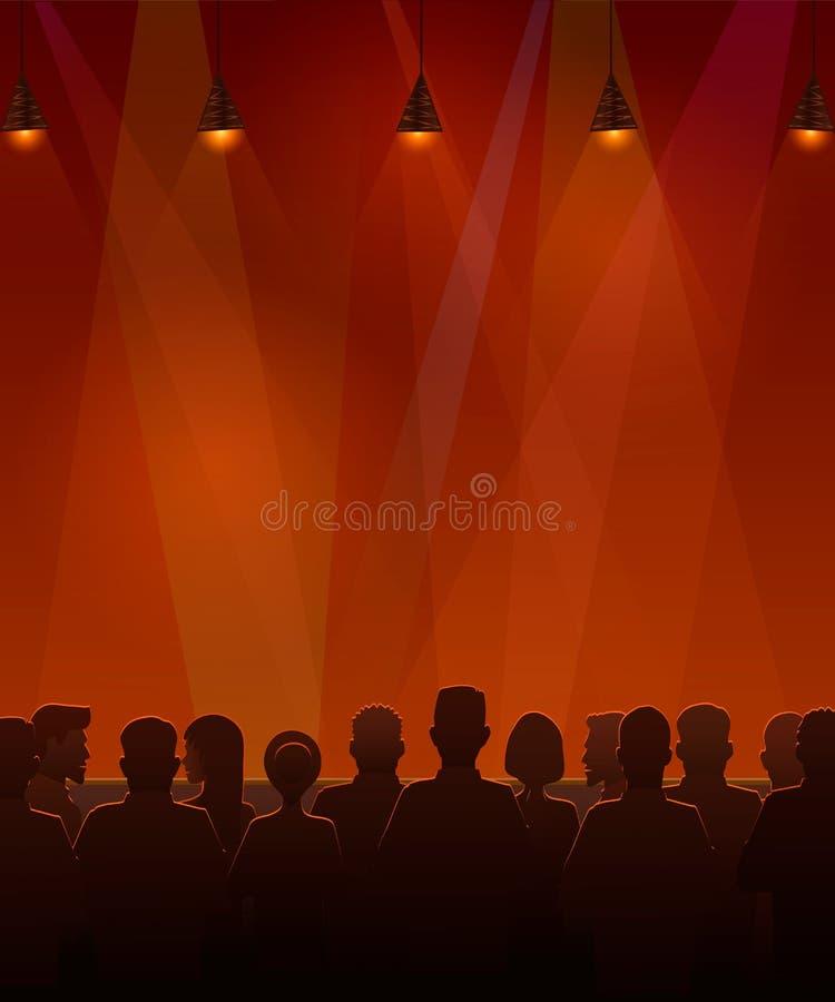 Ludzie siedzi przy sceną Wektorowa ilustracja sylwetki widowni obsiadanie przy sceną ilustracja wektor