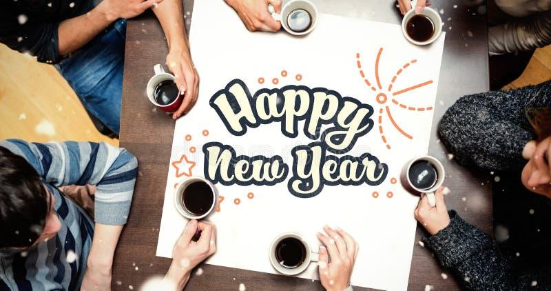 Ludzie siedzi wokoło stołu pije kawę przeciw nowy rok grafice royalty ilustracja
