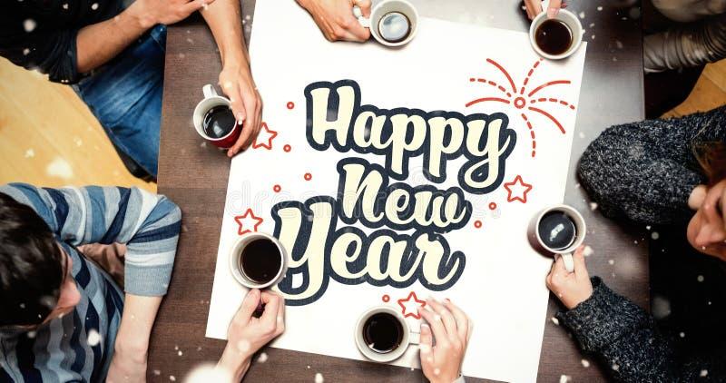 Ludzie siedzi wokoło stołu pije kawę przeciw nowy rok grafice ilustracji