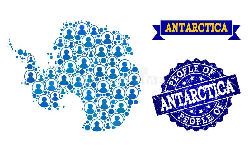 Ludzie składu mozaiki mapa Antarctica i Drapający znaczek royalty ilustracja