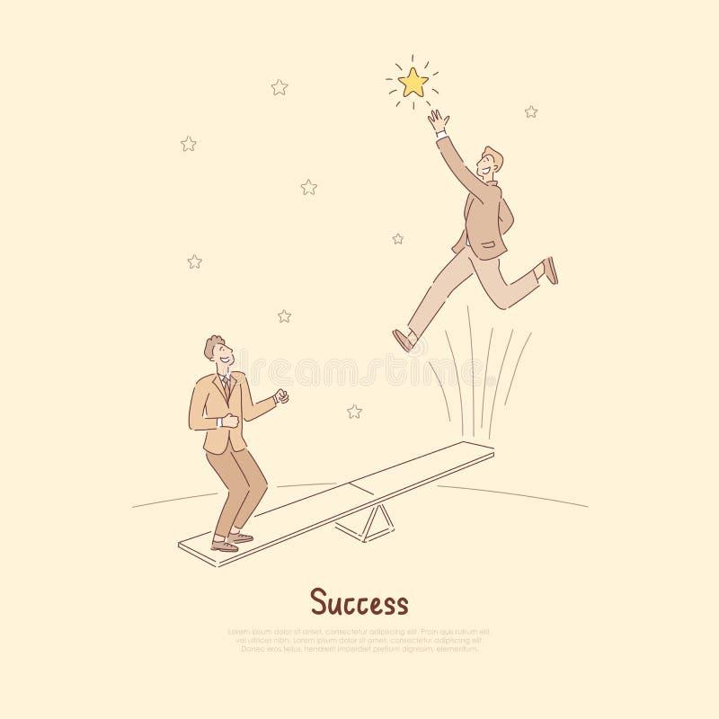 Ludzie skacze na seesaw przyciąganiu, dosięgający dla gwiazd, dokonuje cele wpólnie, biznesmeni używa pracę zespołową dosięgać royalty ilustracja