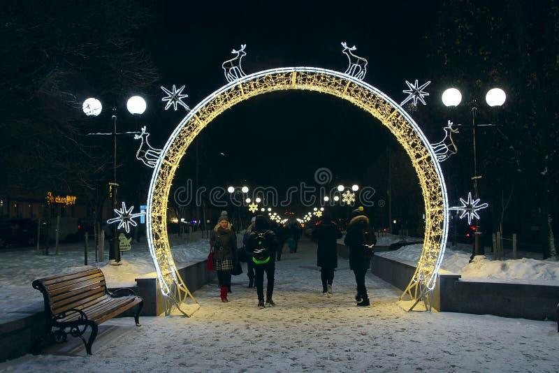 Ludzie spaceru w parku z świątecznymi girlandami obrazy royalty free