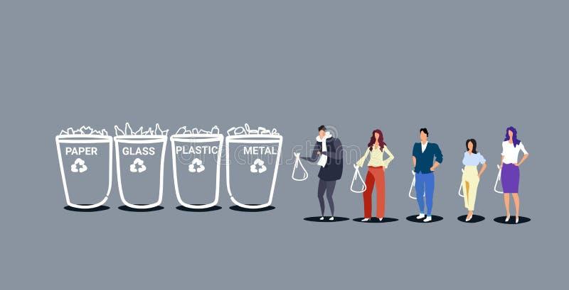 Ludzie stawia torby na śmiecie w różnych typach przetwarzać kosze segregują jałowego sortuje zarządzania pojęcia środowisko ilustracji