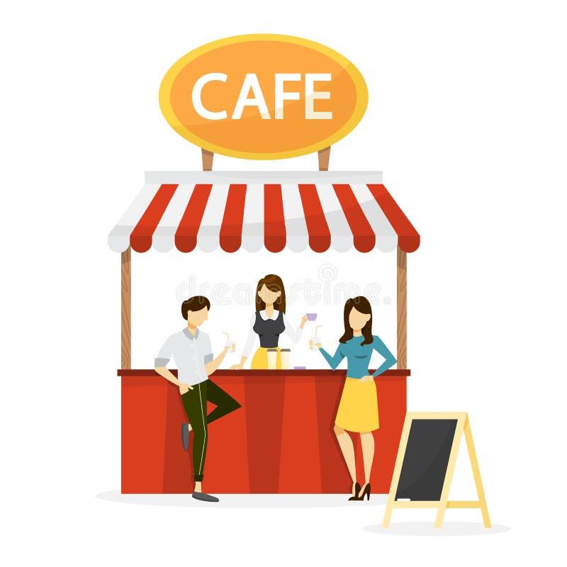 Ludzie stoi przy ulicznym kawiarnia kontuarem bufet ilustracja wektor
