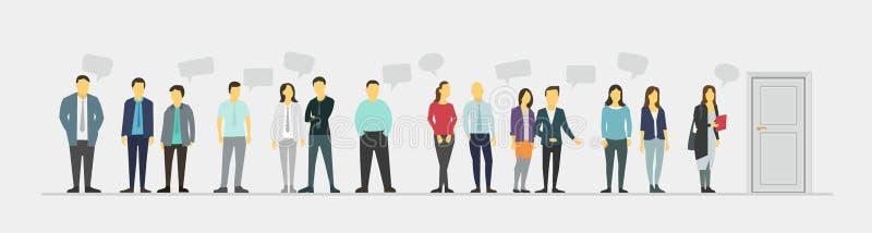 Ludzie stoją w kolejce ilustracja wektor