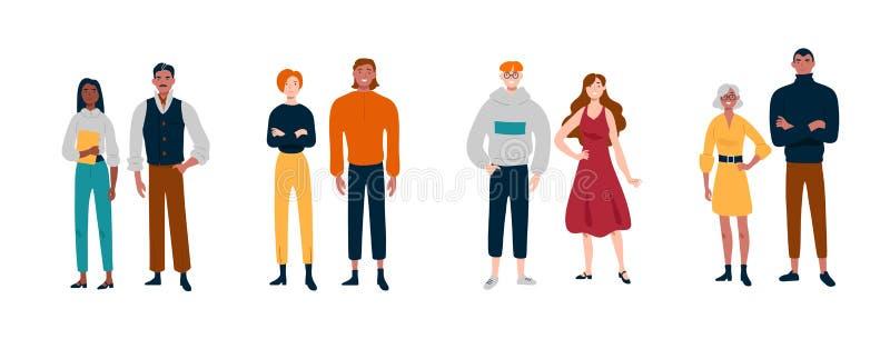 Ludzie stoją w parach Przyjaciele, partnery, koledzy ilustracji