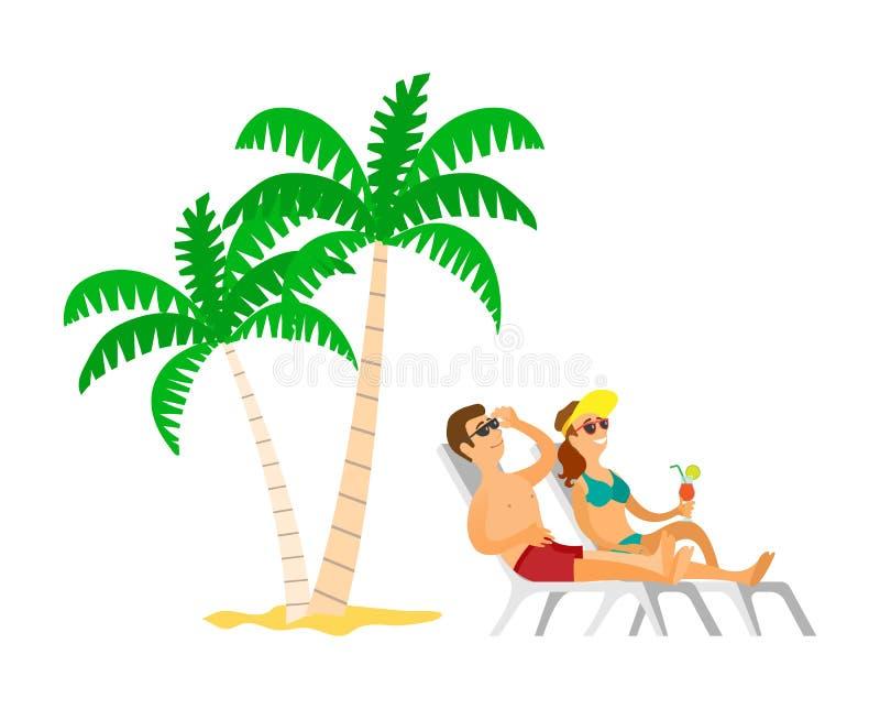 Ludzie Sunbathing blisko drzewka palmowego, Plażowy wektor ilustracji