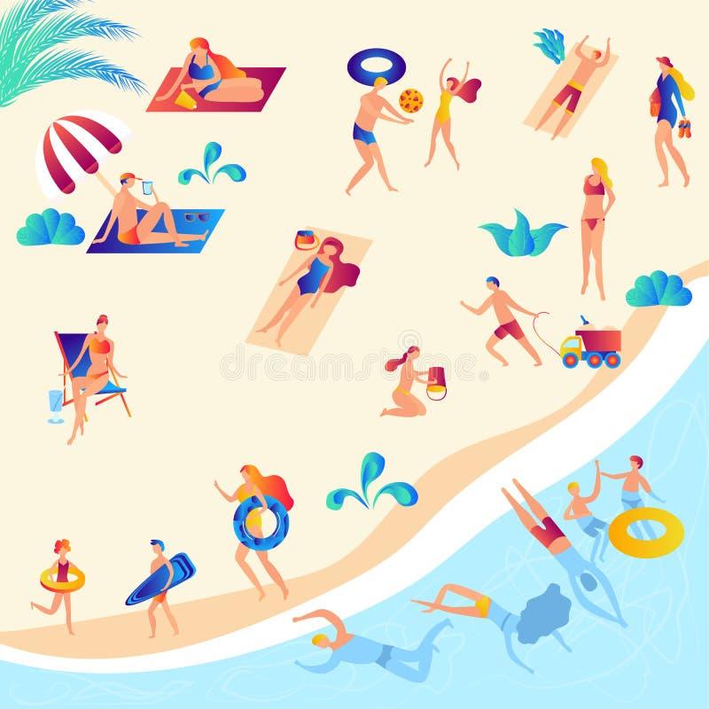 Ludzie surfuje odpoczywają, pływający w morzu, sunbathing, czytelnicze książki, opowiadający, chodzący, ilustracji