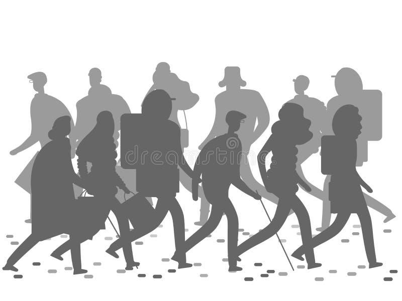 Ludzie sylwetek chodzi na zimy lub jesieni ulicie royalty ilustracja