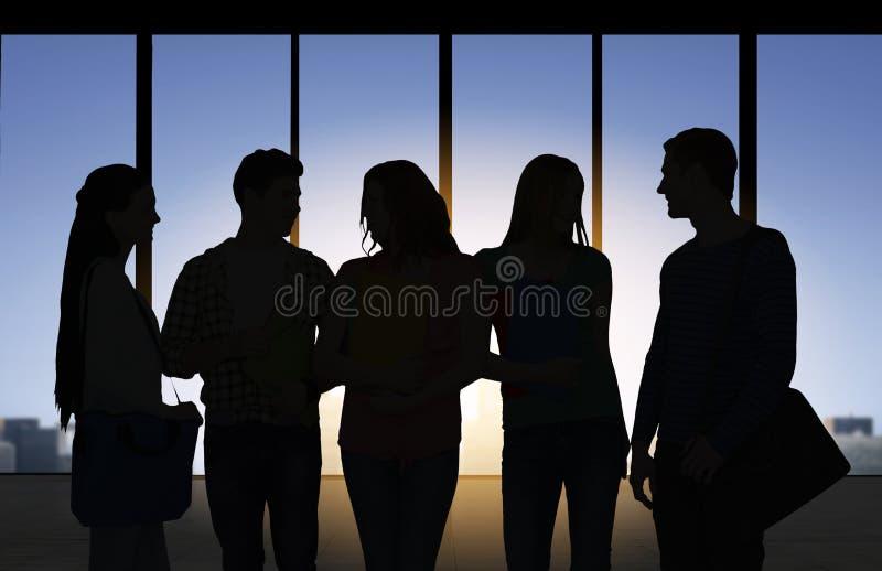 Ludzie sylwetek nad biurowym tłem royalty ilustracja