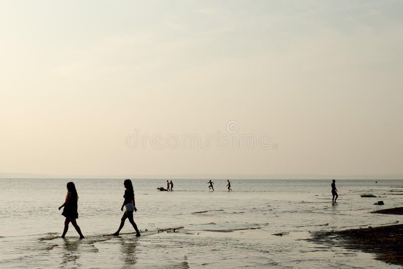 Ludzie sylwetki na wybrzeżu morze Sepiowy zdjęcie stock