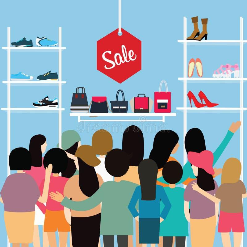 Ludzie tłoczą się sklep sprzedaży rabata buta zakupy centrum handlowego kreskówki torba tłoczącą się wektorową ilustrację royalty ilustracja