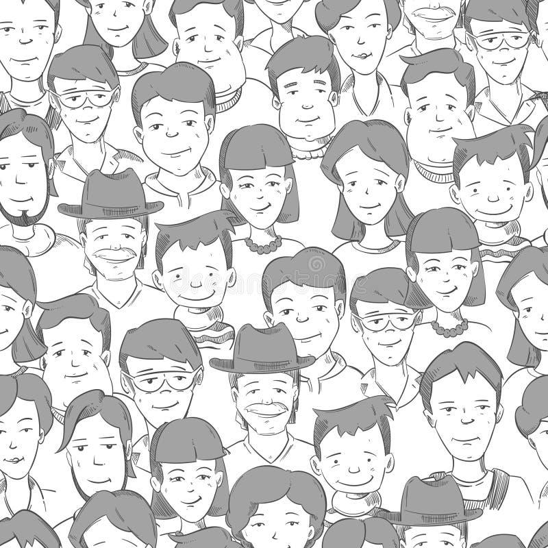 Ludzie tłoczą się z wiele twarzami, ludzkich głów wektorowy bezszwowy tło royalty ilustracja