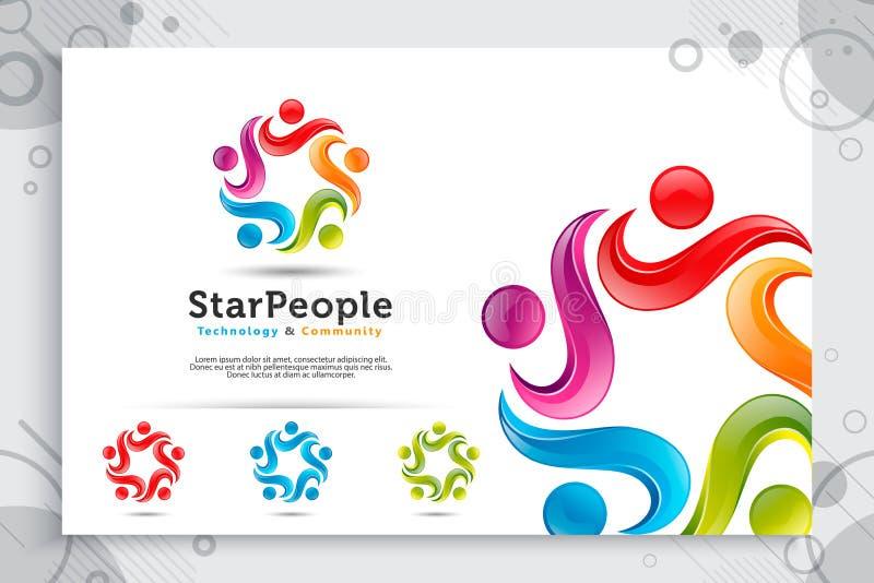 Ludzie tłumów: abstrakcjonistyczni ilustracji gwiazdy ludzie tłoczą się wektorowego logo z kolorowym i nowożytnym stylowym pojęci royalty ilustracja