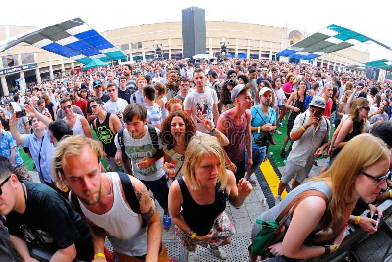 Ludzie tanczą zabawę i przy sonaru festiwalem zdjęcie royalty free