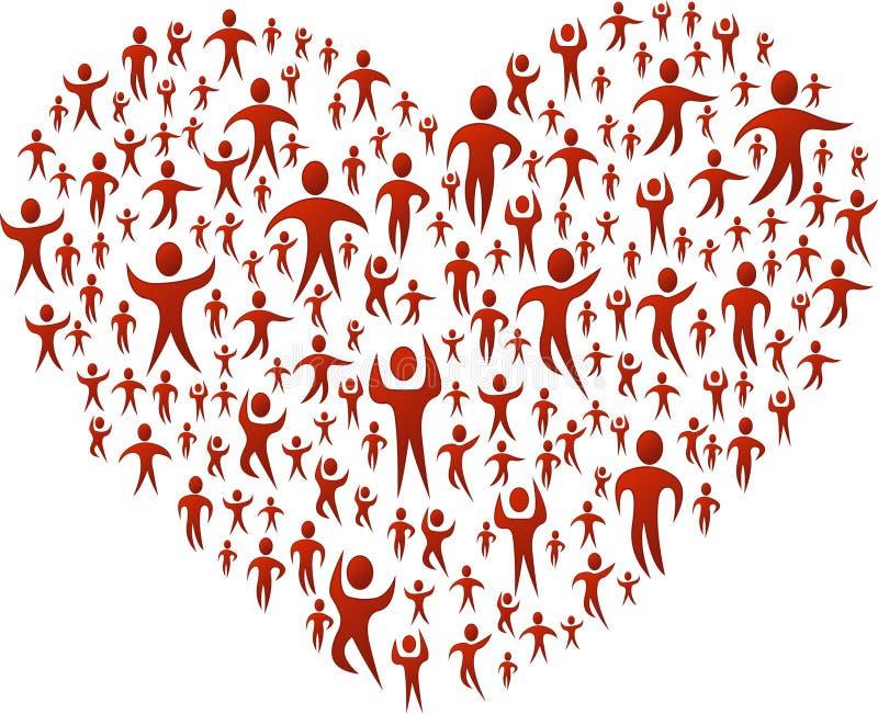Ludzie target1140_0_ duży serce royalty ilustracja