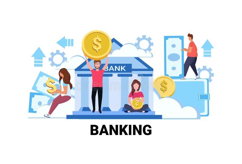 Ludzie trzyma pieniądze bankowości pojęcia mężczyzna inwestorskie kobiety daje out wekslowy dolar monety banknotu savings inwesto ilustracji
