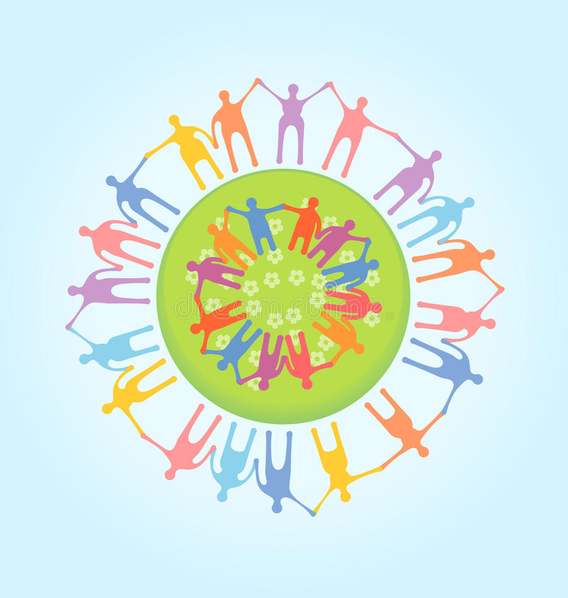 Ludzie trzyma ręki dookoła świata. Jedności conce ilustracja wektor