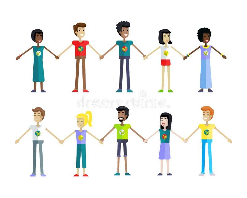Ludzie Trzyma ręki z rzędu royalty ilustracja
