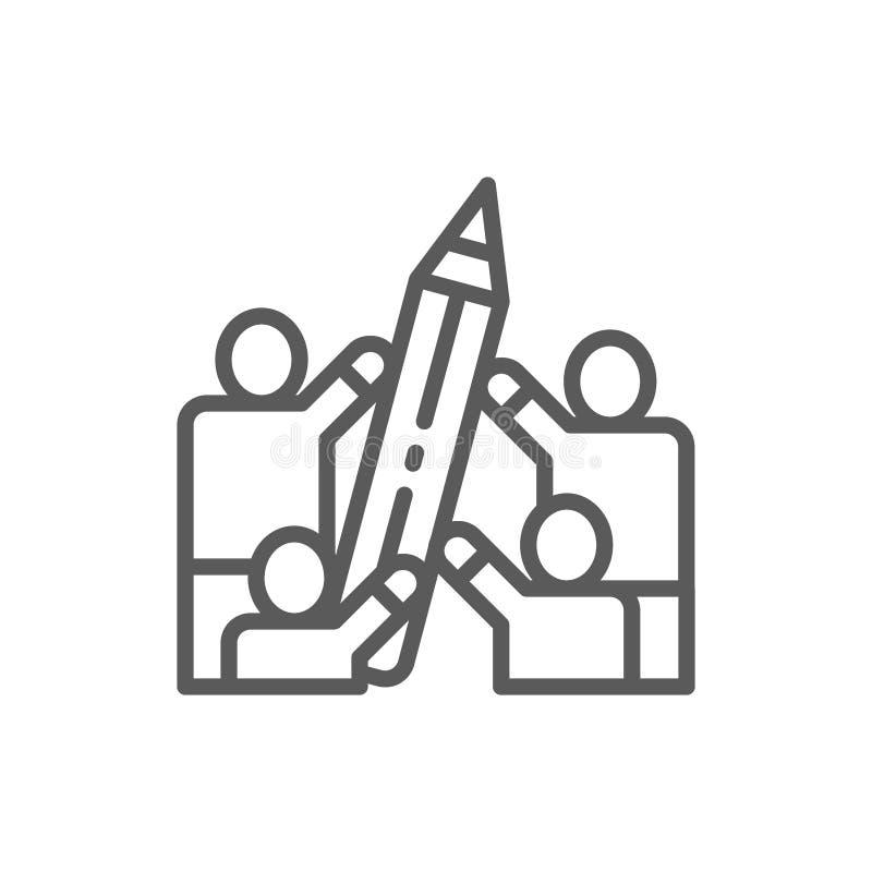 Ludzie trzymają dużą ołówek linii ikonę ilustracji