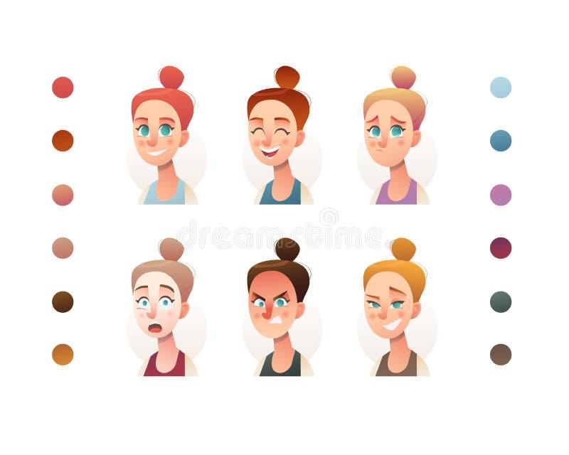 Ludzie twarz ustalonego twórcy Płaska ikona Osoby avatar ilustracje Młoda kobieta i dziewczyny Kreskówka styl, odosobniony dyfere royalty ilustracja