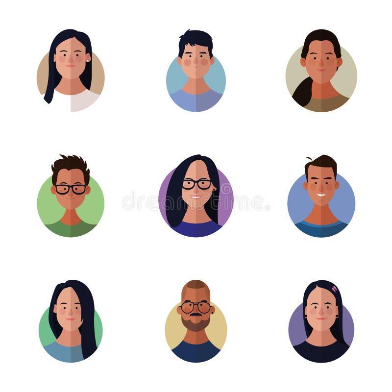 Ludzie twarzy kreskówki ilustracja wektor