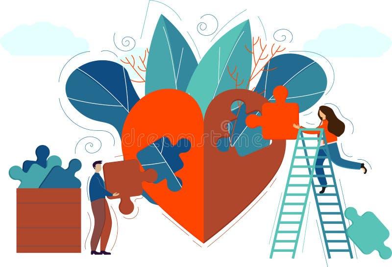 Ludzie tworzą serce puzzle na walentynki Walentynki, plakat, gratulacje za 14 lutego Koncepcja miłości Serce ilustracji
