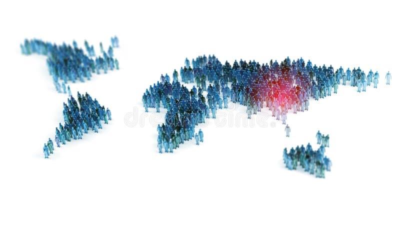 Ludzie tworzy światową mapę ilustracji