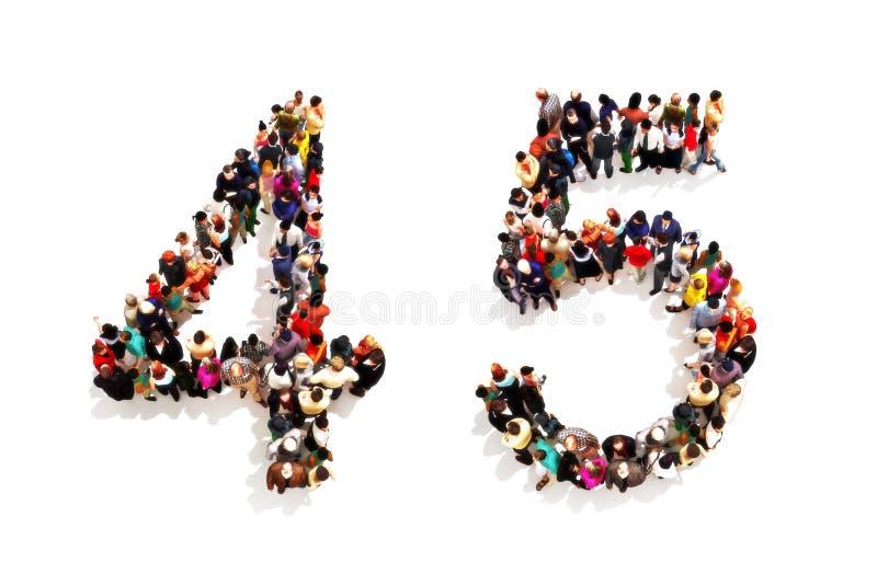 Ludzie tworzy kształt jako 3d liczba cztery i pięć (4) (5) symbol na białym tle ilustracji