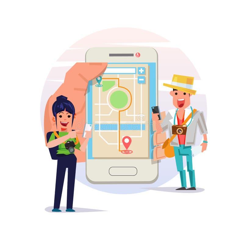 Ludzie używa mobilnego smartphone i widzią mapę badacza krajobraz i miasta pasażer dla wycieczki turysycznej podróży - wektor royalty ilustracja