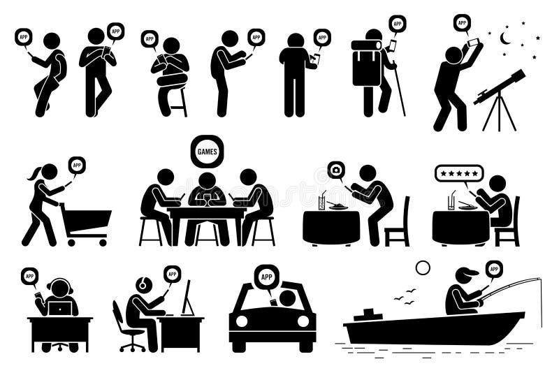 Ludzie używa smartphone app dla różnorodnych aktywność cliparts royalty ilustracja