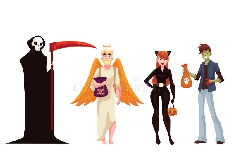 Ludzie ubierają w śmierci, potworze, aniele i kota Halloween kostiumach, royalty ilustracja