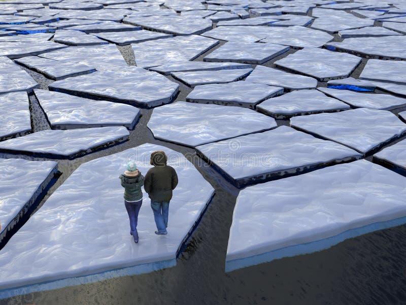 Ludzie unosi się na lodowym floe ilustracji