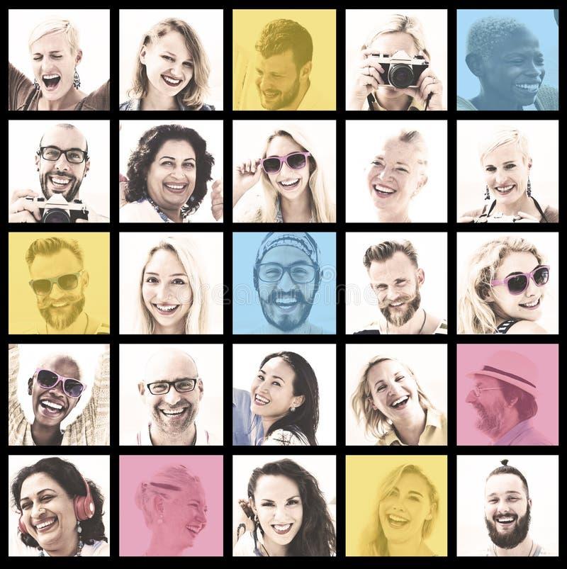 Ludzie Ustawiający twarzy różnorodności twarzy ludzkiej pojęcie fotografia stock