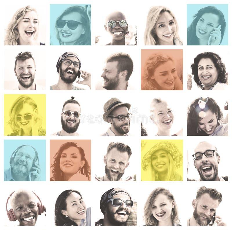 Ludzie Ustawiający twarzy różnorodności twarzy ludzkiej pojęcie obrazy stock