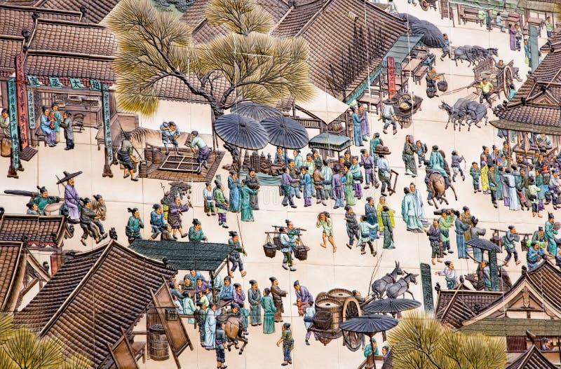 Ludzie w antycznym Chiny byli na ruchliwych ulicach obrazy royalty free