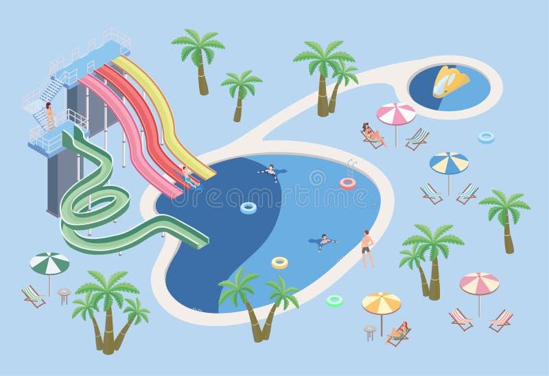 Ludzie w aqua parku, relaksują przy basenem Pływacki basen i wodni obruszenia Wektorowa isometric ilustracja ilustracja wektor