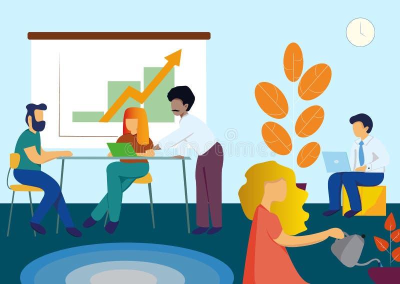 Ludzie w biurowym działaniu, Biznesowy spotkanie i praca zespołowa, brainstorming w mieszkanie stylu wektoru ilustracji ilustracji