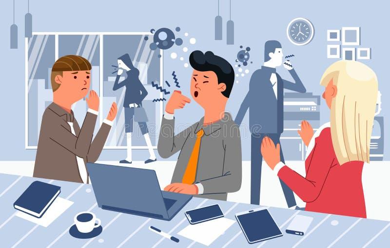 Ludzie w biurze nie noszą maski, wirus rozprzestrzenia się na przykładzie wektora biurowego zdjęcia stock
